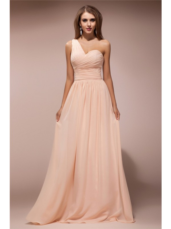 Sheath Chiffon One-Shoulder Floor-Length Pearl Pink Prom Dresses