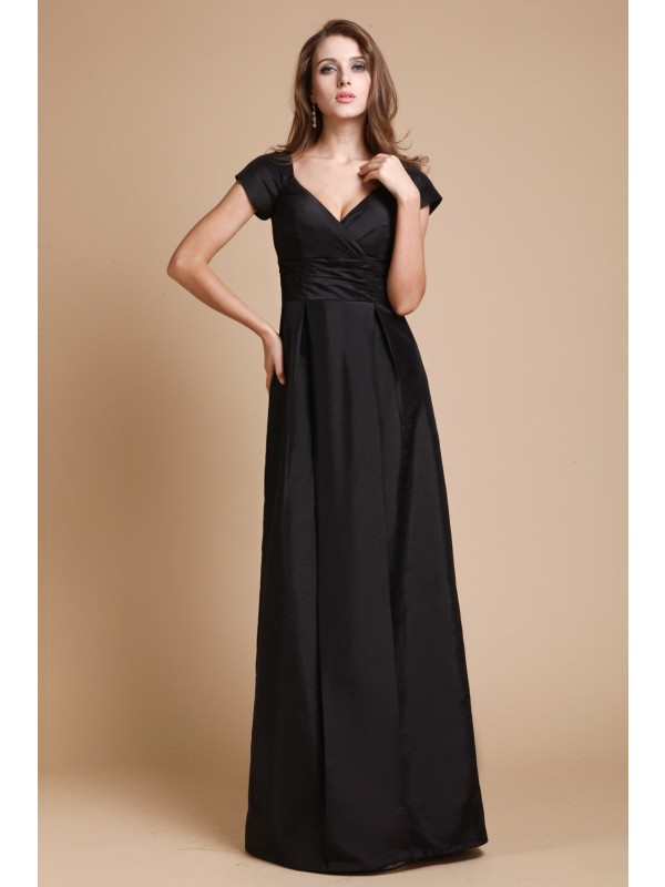 Sheath V-neck Floor-Length Black Prom Dresses