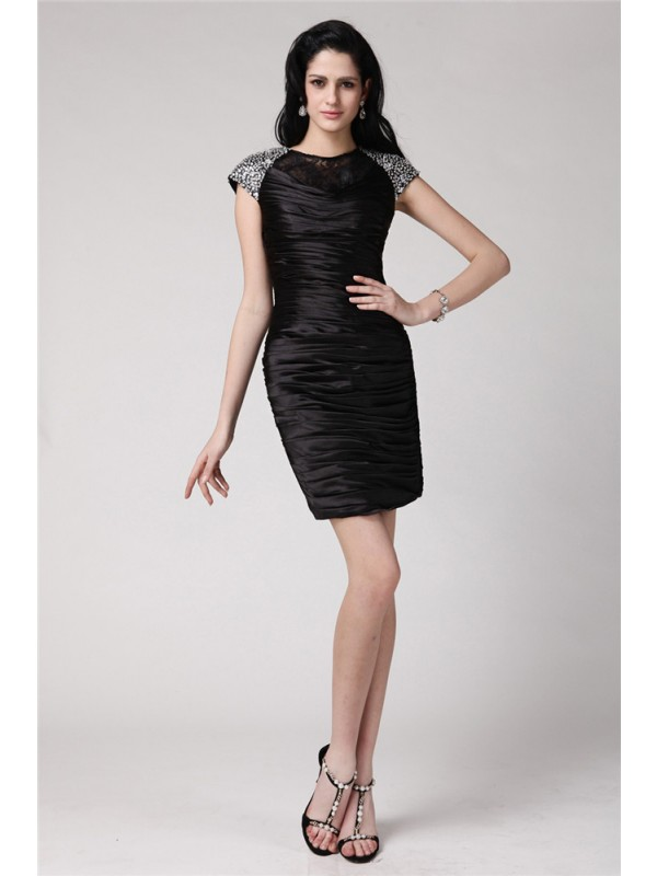 Short Sleeves Sheath Scoop Short/Mini Black Homecoming Dresses
