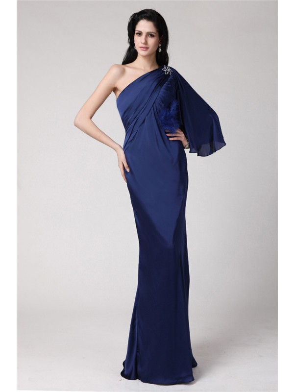 Mermaid One-Shoulder Floor-Length Dark Navy Prom Dresses with Feathers/Fur