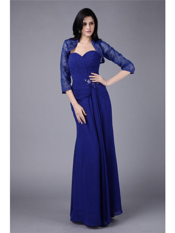 Chiffon Sweetheart Floor-Length Royal Blue Mother of the Bride Dresses