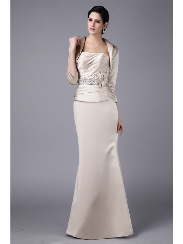Sheath Strapless Floor-Length Champagne Mother of the Bride Dresses