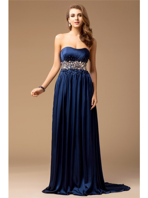 Dark Navy Sheath Strapless Brush Train Prom Dresses with Rhinestone