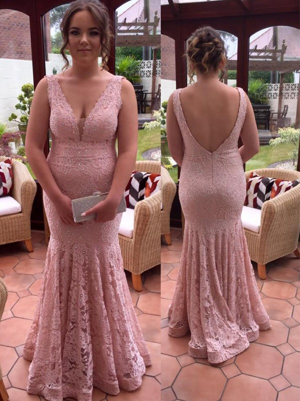 Mermaid V-neck Floor-Length Pearl Pink Prom Dresses