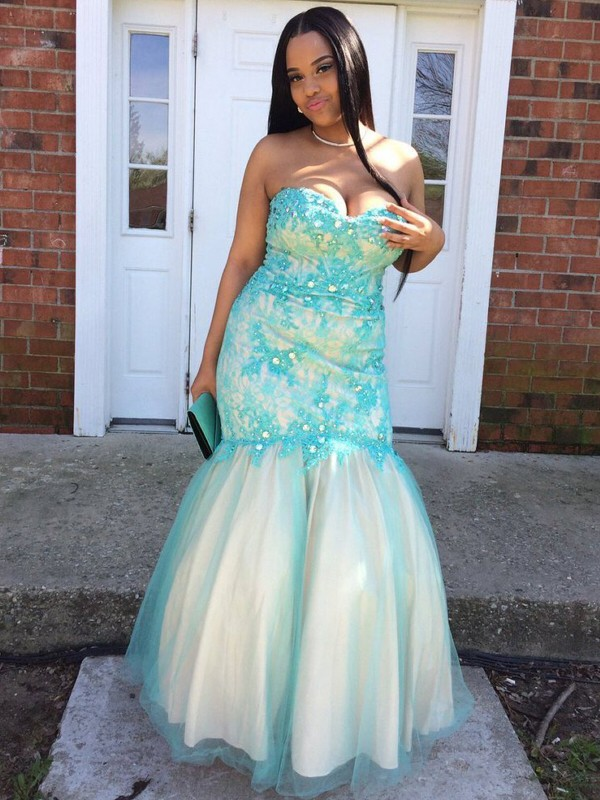 Blue Sweetheart Tulle Floor-Length Prom Dresses