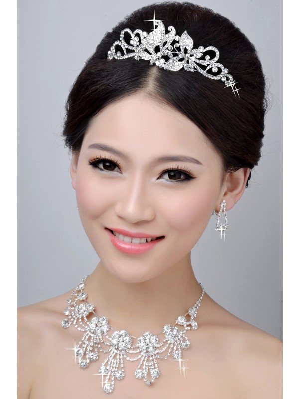 New Style Nice Alloy Clear Crystals Wedding Party Earrings Set