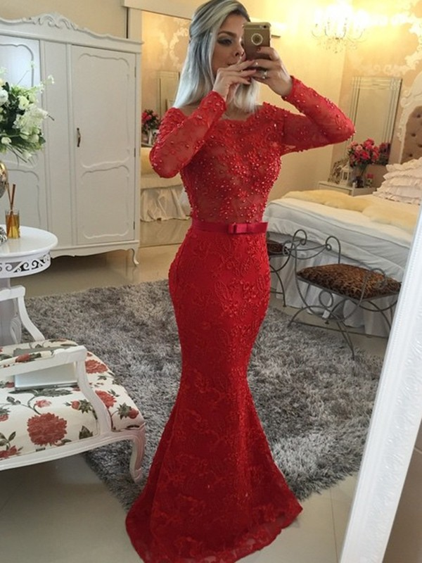 Brush Train Red Long Sleeves Scoop Prom Dresses with Sash/Ribbon/Belt
