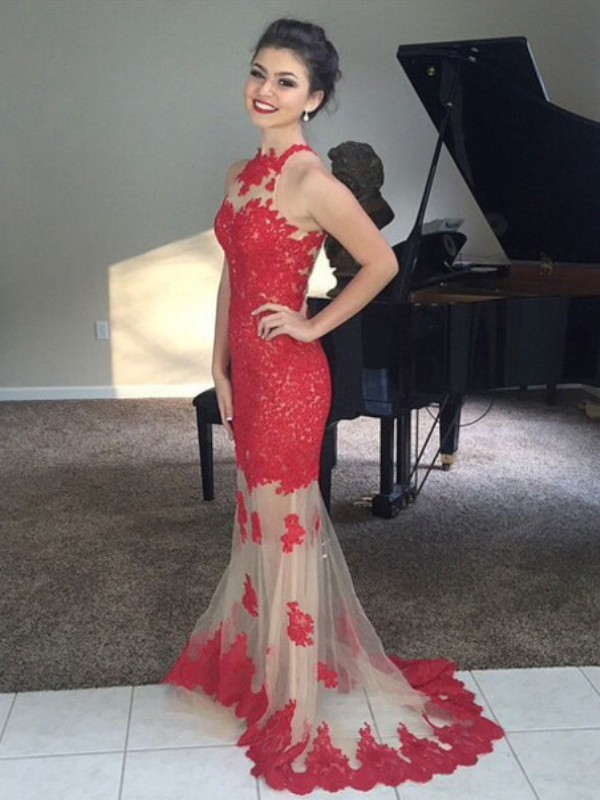 Mermaid High Neck Brush Train Red Prom Dresses
