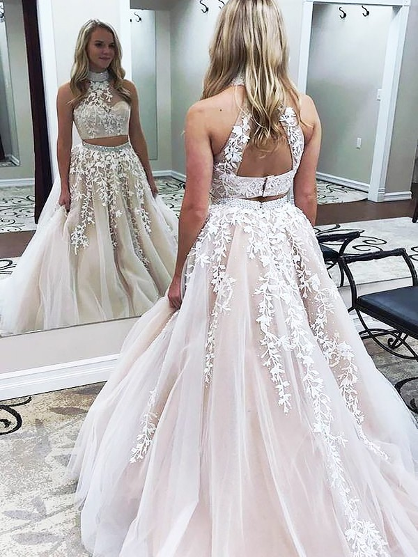 A-Line High Neck Brush Train Champagne Prom Dresses