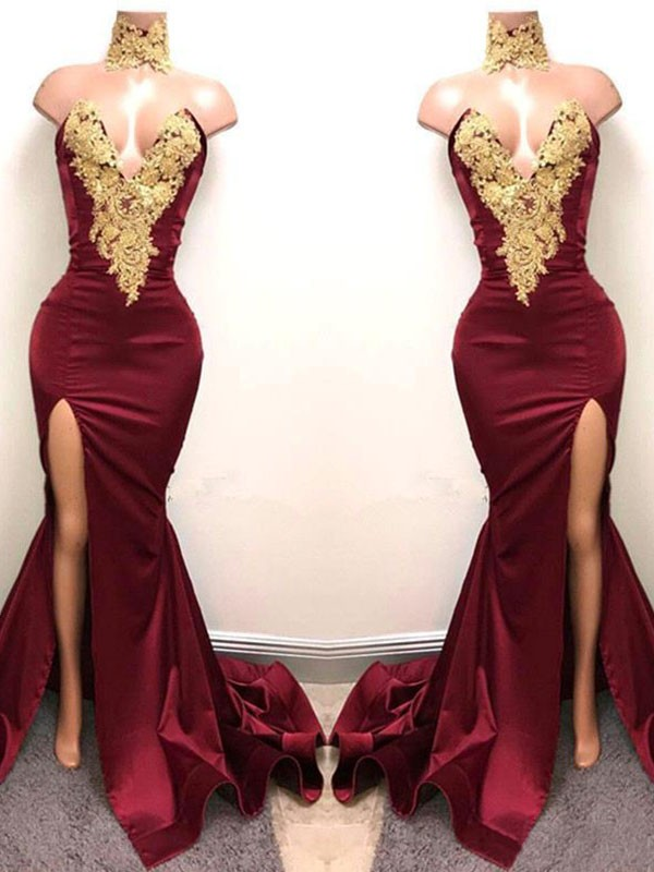 Burgundy Mermaid Sweetheart Brush Train Prom Dresses with Applique