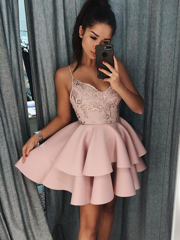 Satin A-Line Short/Mini Spaghetti Straps Pink Homecoming Dresses