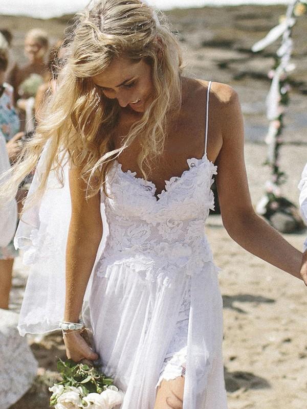 Floor-Length White V-neck Wedding Dresses with Applique