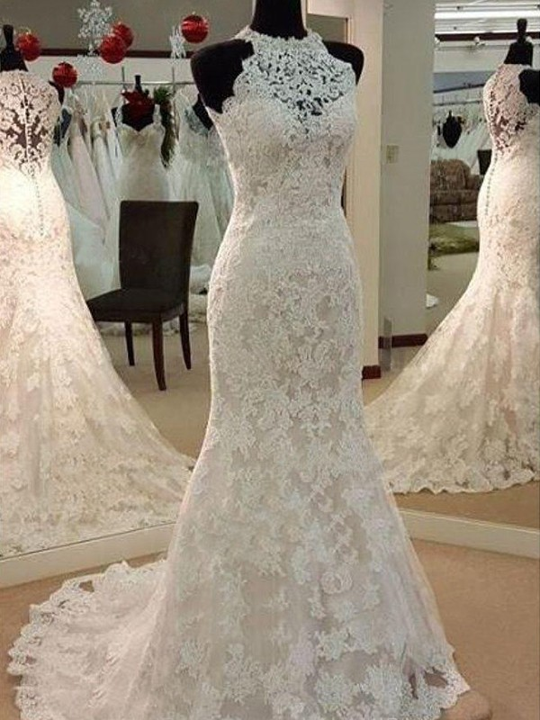 Lace Sheath Brush Train Scoop Ivory Wedding Dresses