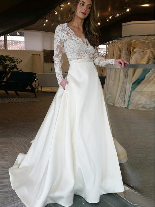 A-Line V-neck Brush Train Ivory Wedding Dresses