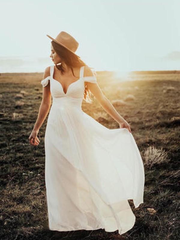 A-Line Chiffon V-neck Floor-Length Wedding Dresses with Ruffles