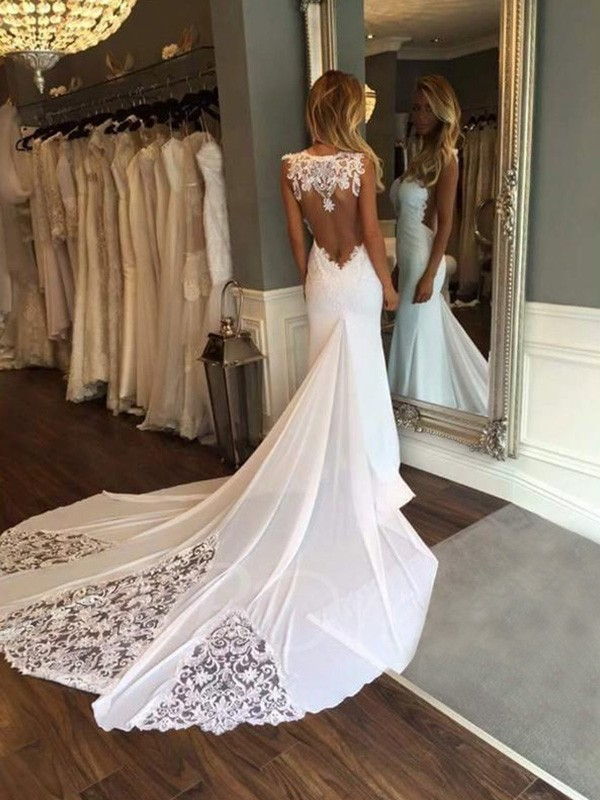 Ivory Sweetheart Lace Cathedral Train Wedding Dresses