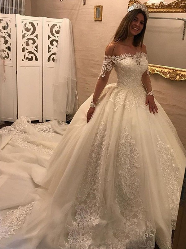 Ball Gown Off-the-Shoulder Cathedral Train Ivory Wedding Dresses