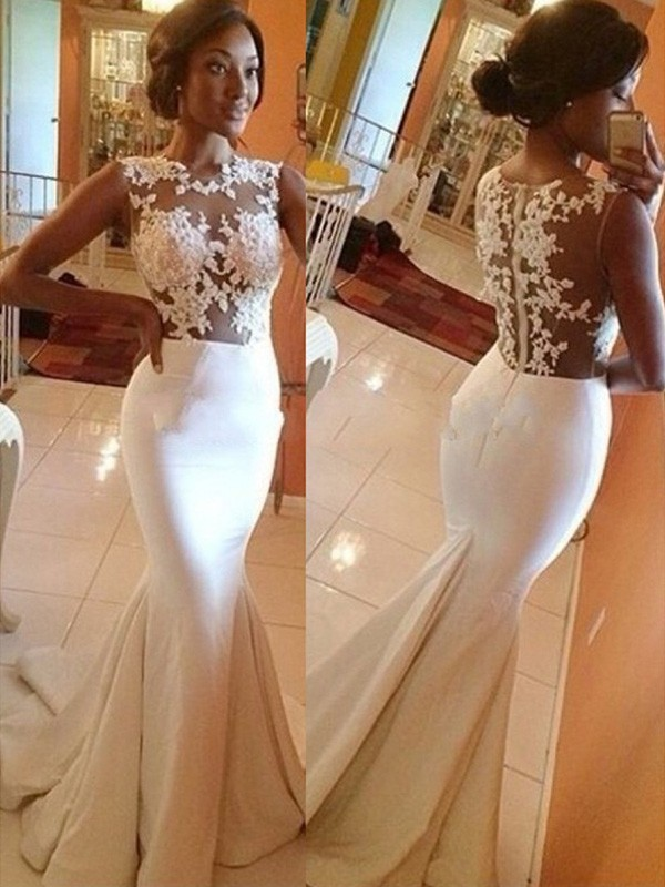 Satin Scoop Brush Train Ivory Wedding Dresses