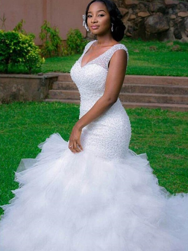 Mermaid V-neck Cathedral Train White Wedding Dresses