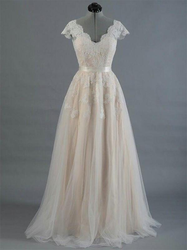 V-neck Floor-Length White Wedding Dresses with Applique