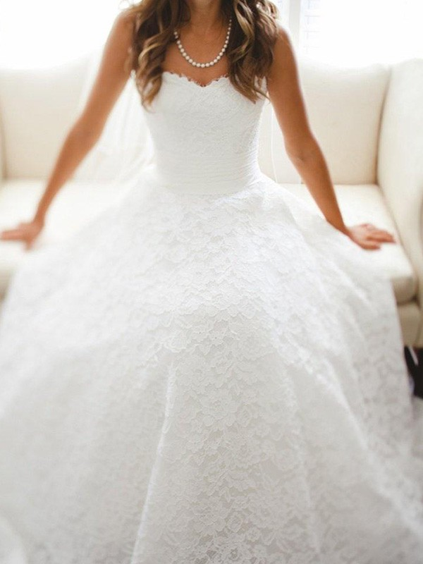 A-Line Lace Sweetheart Cathedral Train Wedding Dresses with Lace