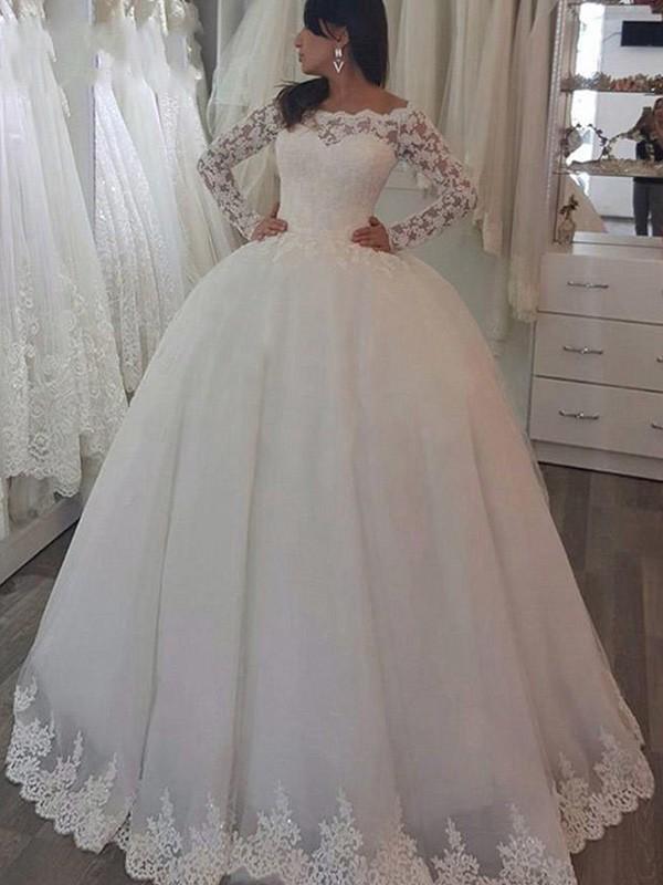 LaceBrush Train Long Sleeves Off-the-Shoulder Ivory Wedding Dresses