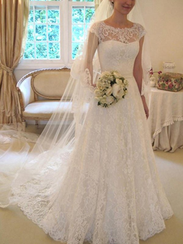 A-Line Short Sleeves Square Court Train Ivory Wedding Dresses