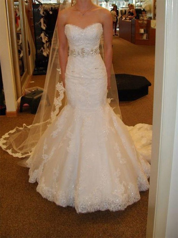 Tulle Mermaid Court Train Sweetheart Ivory Wedding Dresses