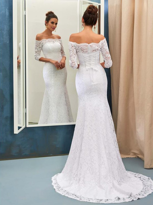 White Off-the-Shoulder Lace Brush Train Wedding Dresses