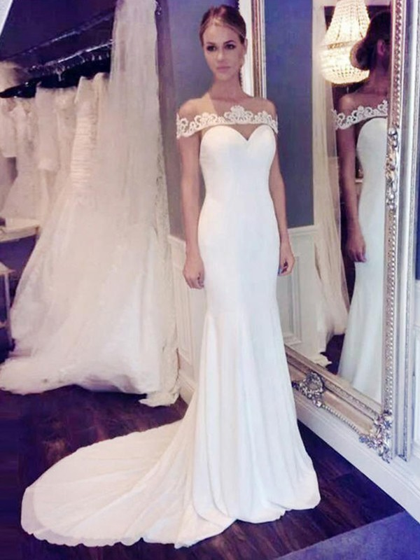 Mermaid Scoop Court Train Ivory Wedding Dresses with Lace