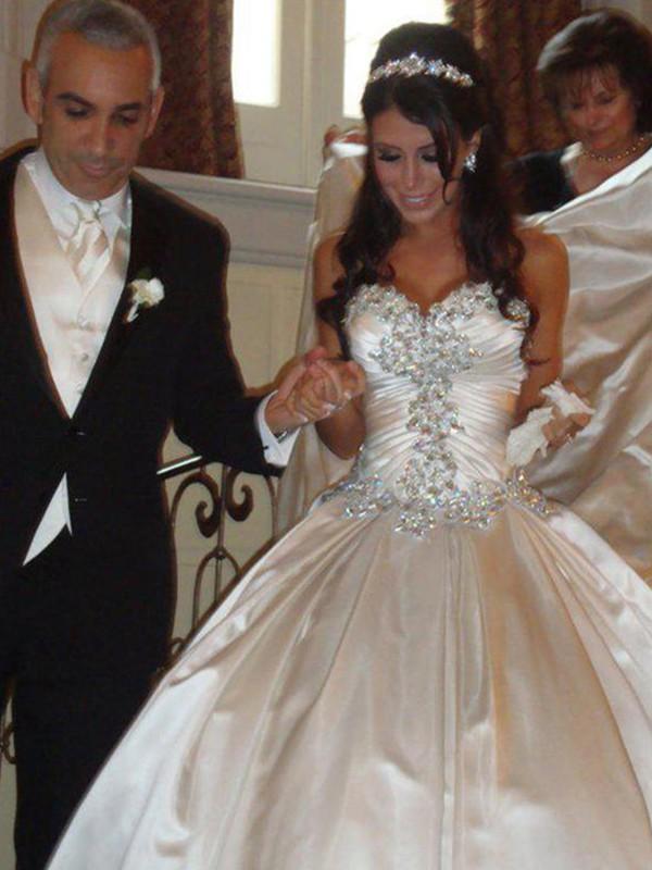 Taffeta Sweetheart Cathedral Train Champagne Wedding Dresses
