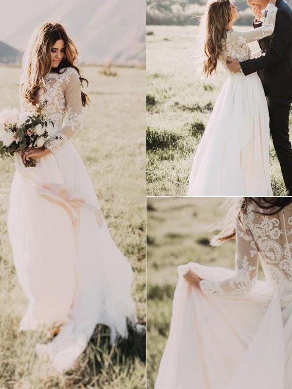 Ivory A-Line V-neck Brush Train Wedding Dresses with Applique