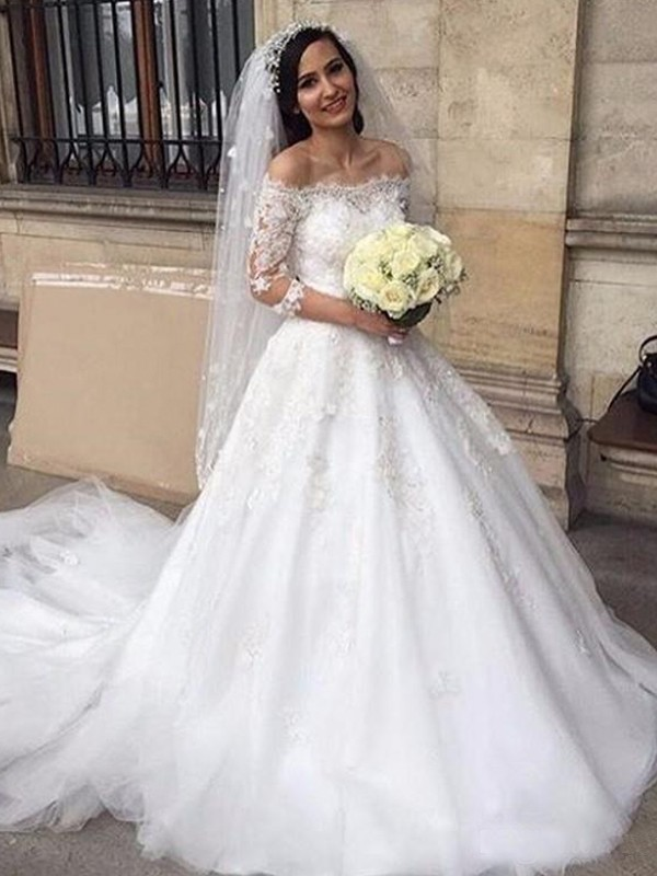 Tulle 3/4 Sleeves Off-the-Shoulder Chapel Train White Wedding Dresses