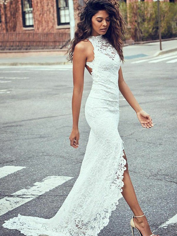 Mermaid Lace Halter Brush Train White Wedding Dresses