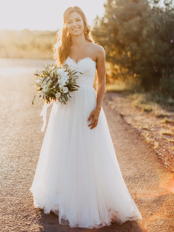 Tulle Sweetheart Floor-Length White Wedding Dresses
