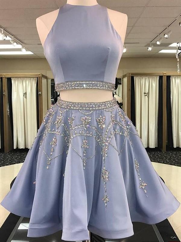 Short Bateau A-Line Satin Light Sky Blue Homecoming Dresses