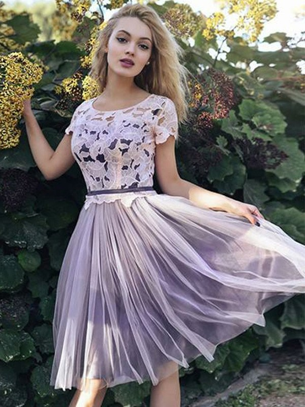 Short Scoop A-Line Short Sleeves Tulle Lilac Homecoming Dresses
