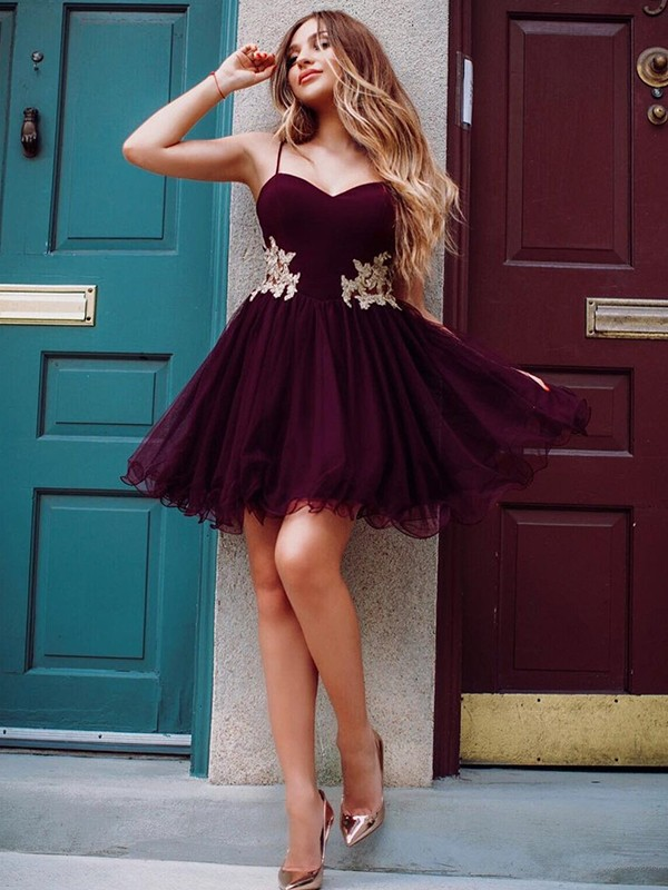 Burgundy Short Organza Homecoming Dresses