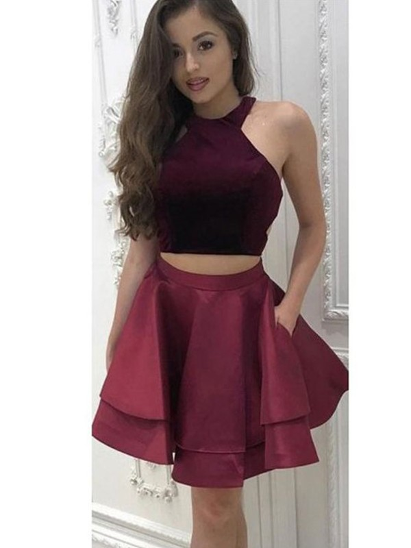 A-Line Halter Satin Burgundy Two Piece Homecoming Dresses
