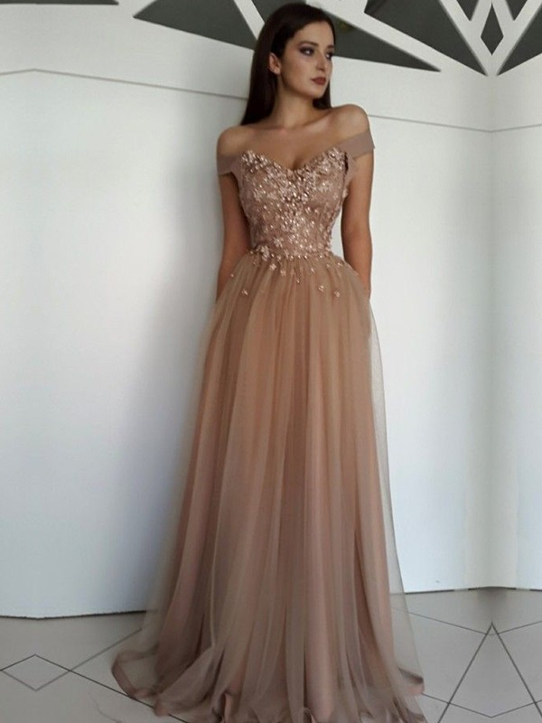 A-Line Brown Floor-Length Applique Tulle Prom Dresses