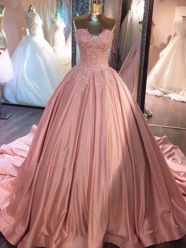 Ball Gown Sweetheart Pink Court Train Lace Satin Prom Dresses