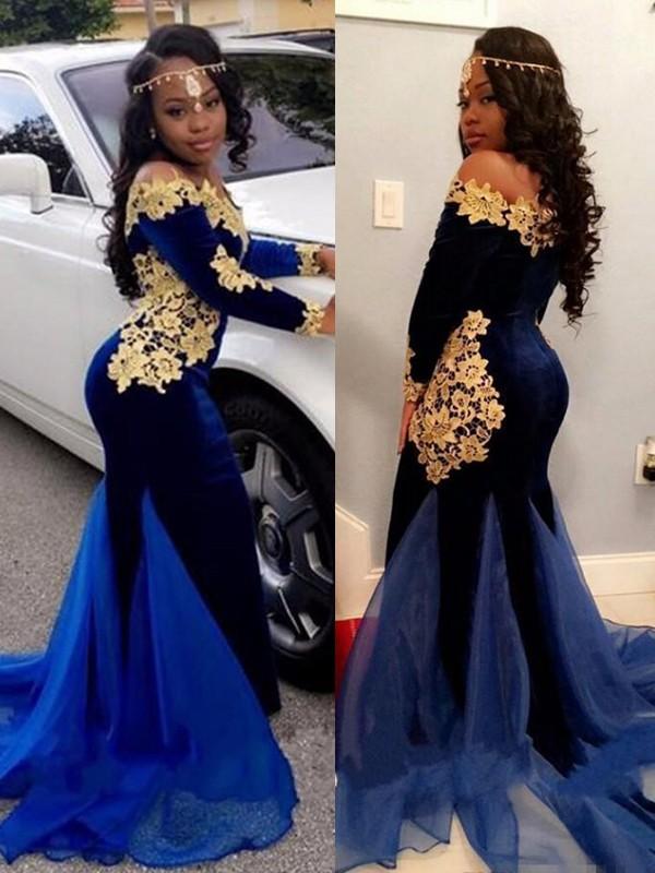 Mermaid Royal Blue Brush Train Applique Velvet Prom Dresses