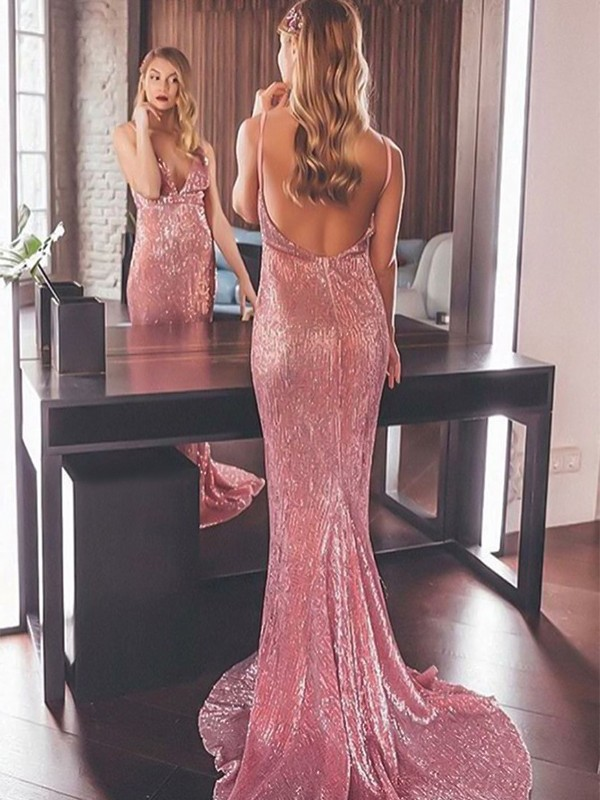 Mermaid Sleeveless Pink Long Sequins Prom Dresses