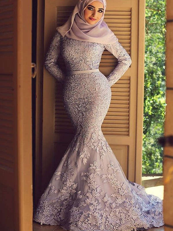 Mermaid Long Sleeves Long Lace Lilac Muslim Prom Dresses