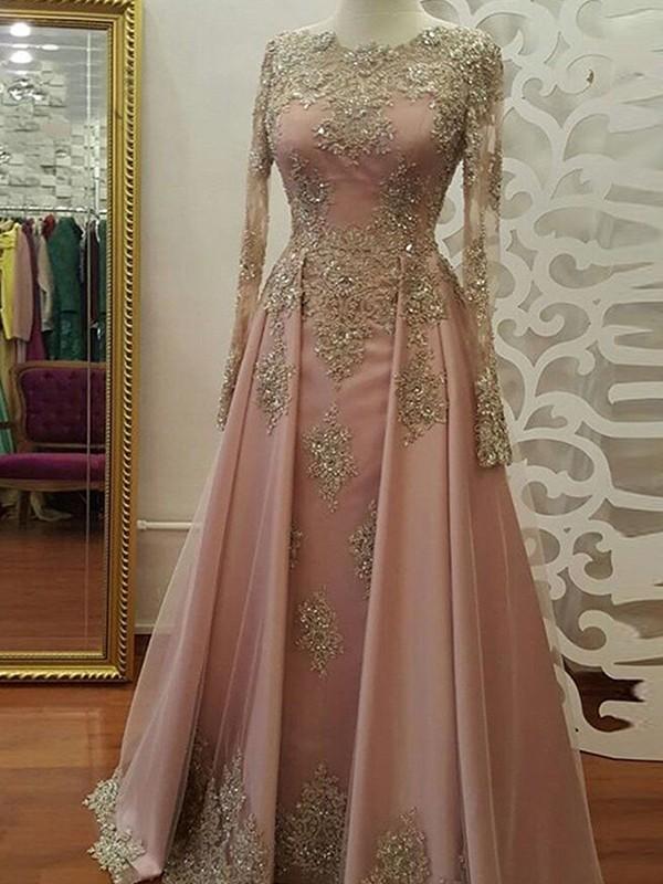 Sheath Long Sleeves Floor-Length Pink Tulle Muslim Prom Dresses