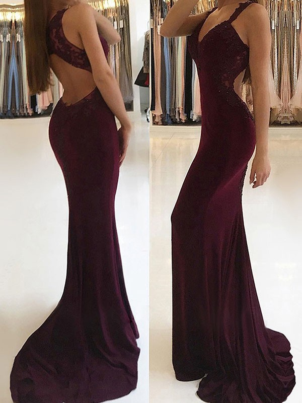 Mermaid V-neck Brush Train Burgundy Spandex Prom Dresses