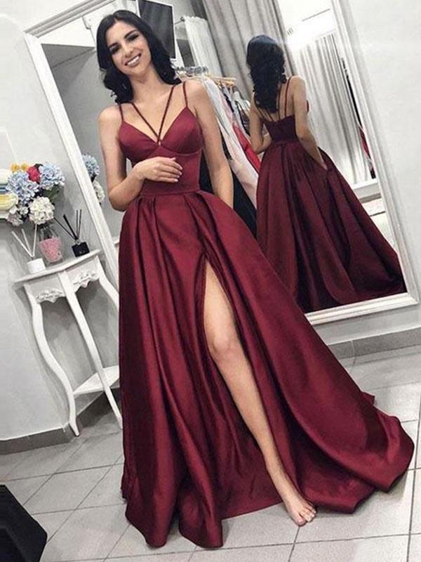 A-Line Brush Train Burgundy Ruffles Satin Prom Dresses
