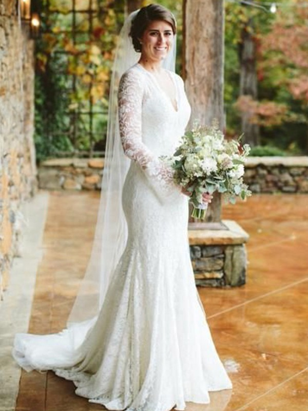 Mermaid V-neck Long Sleeves Brush Train Lace Wedding Dresses