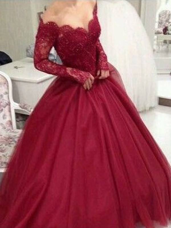Ball Gown V-neck Long Sleeves Floor-Length Tulle Prom Dresses
