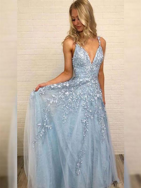 A-Line V-neck Sleeveless Tulle Light Sky Blue Prom Dresses